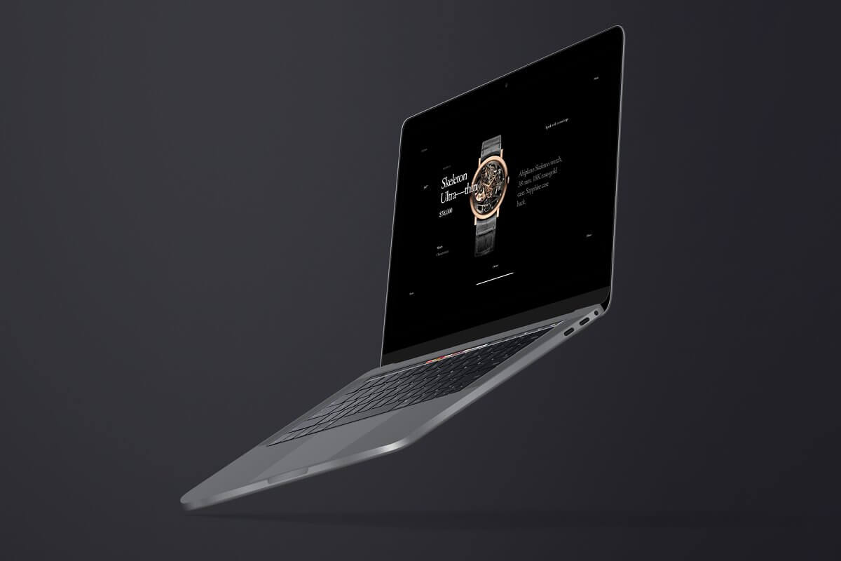 Flying Macbook Pro mockup
