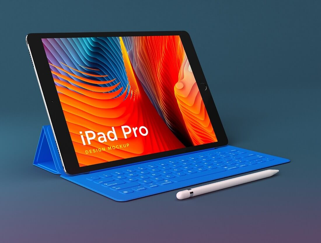 iPad Pro device mockup with keyboard