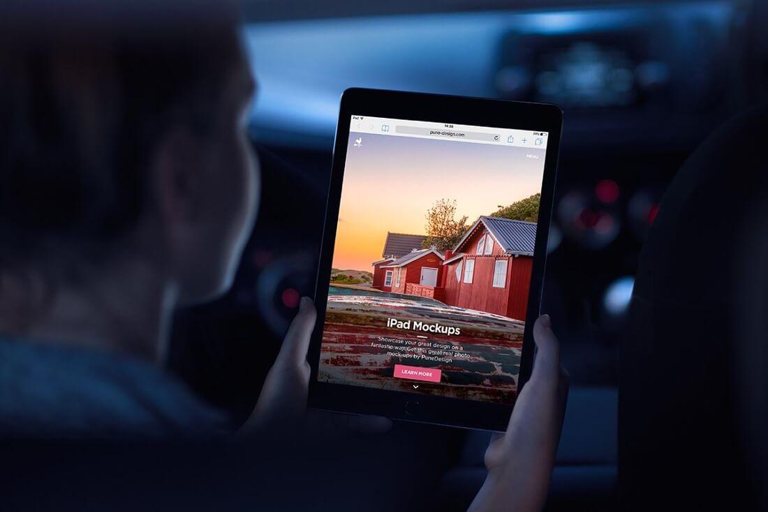 Dark iPad mockup presentation