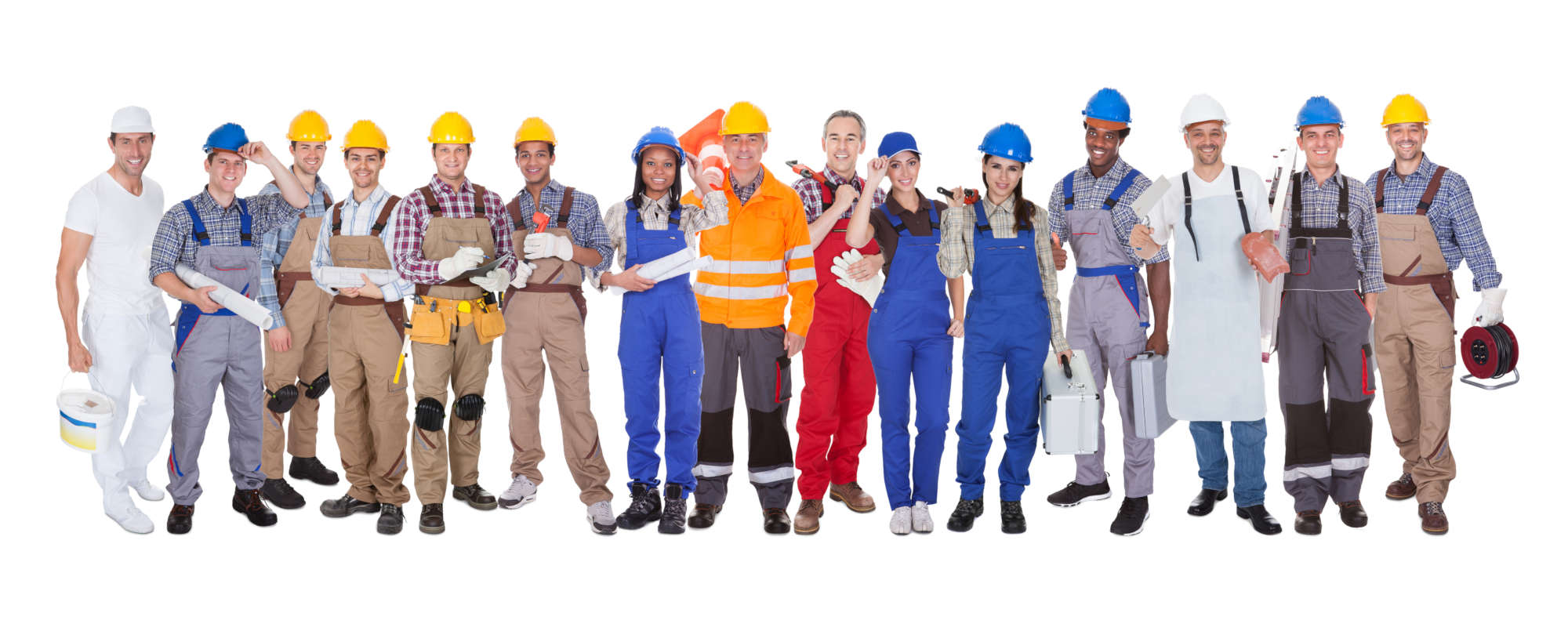 A group of workers of different types standing next to each other