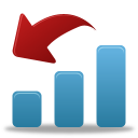 bar chart with red arrow