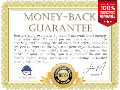 money back guarantee certificate