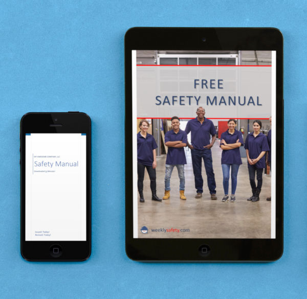 free safety manual image on a phone and tablet device on blue background