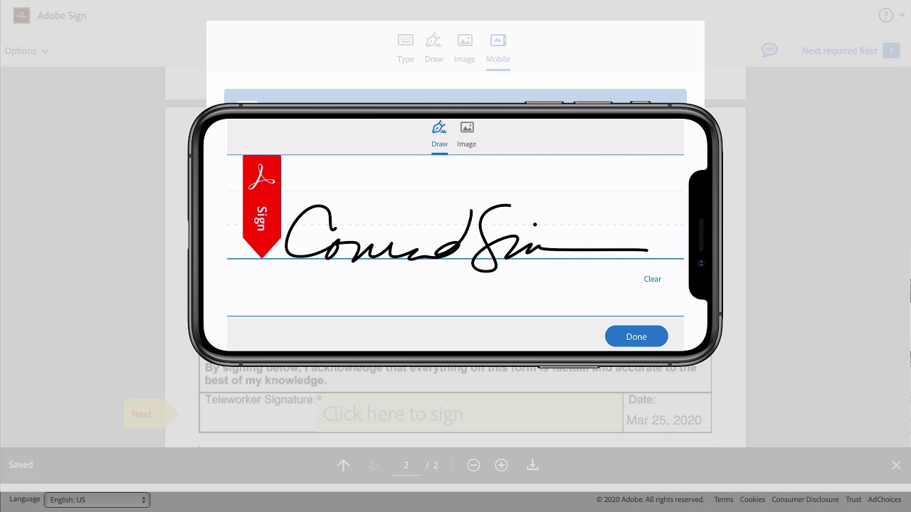 Signing on a mobile device with Adobe Sign