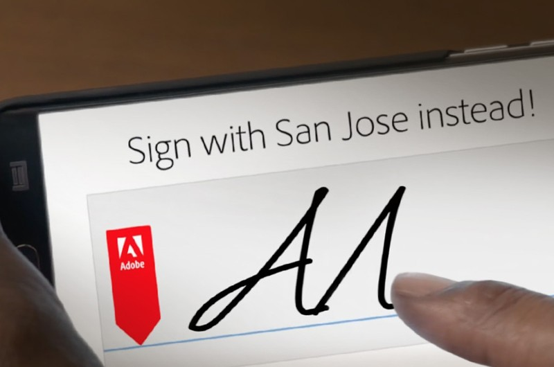 Electronic signature on a mobile device with Adobe Sign