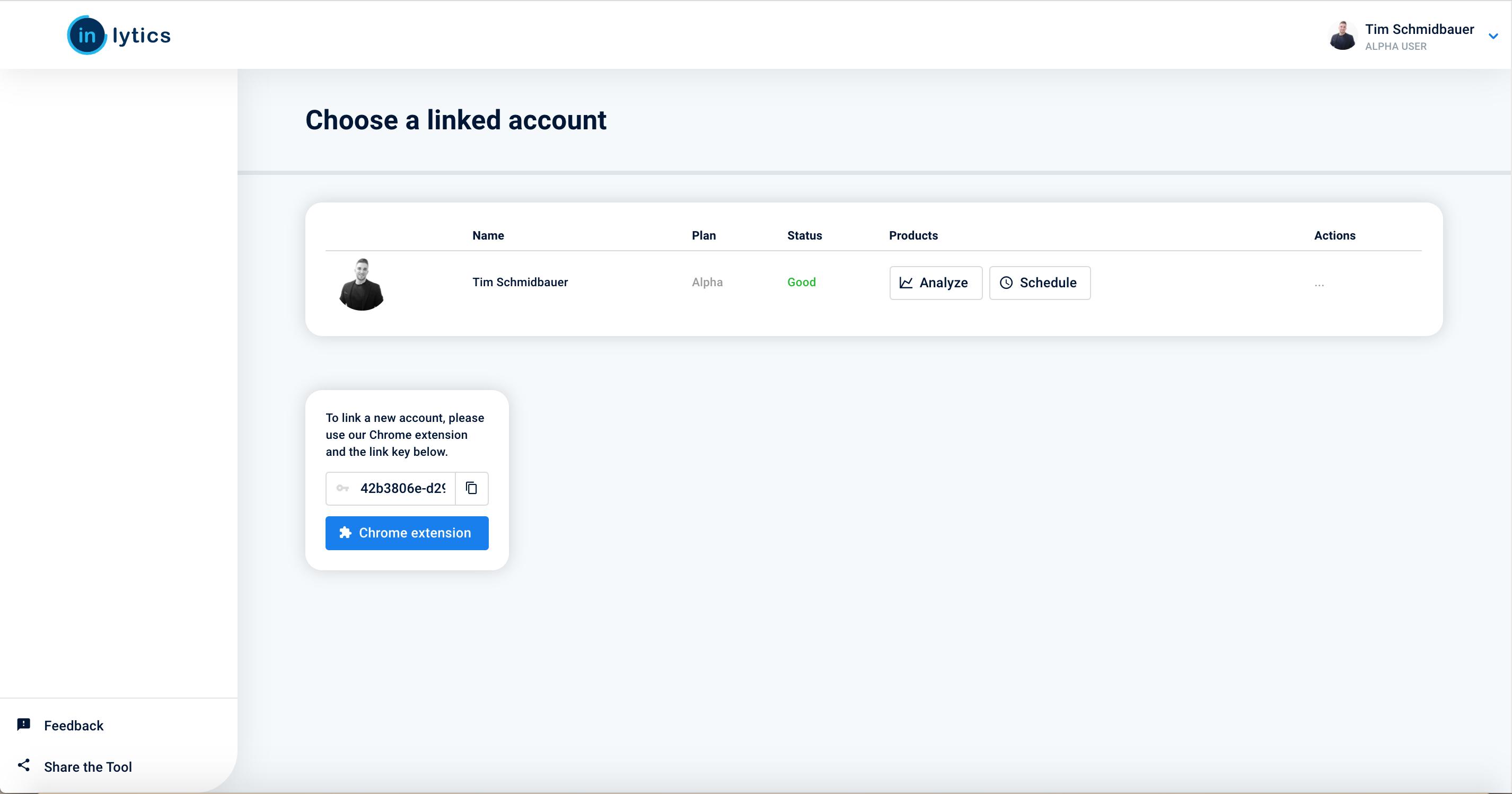 LinkedIn accounts dashboard