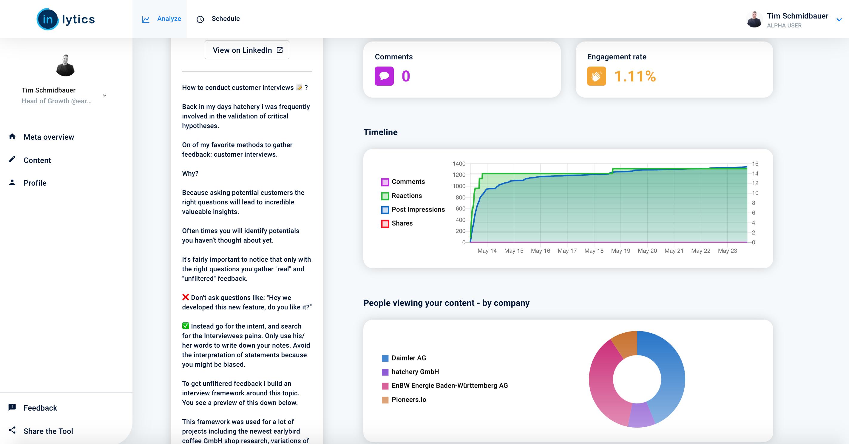 Content analytics report