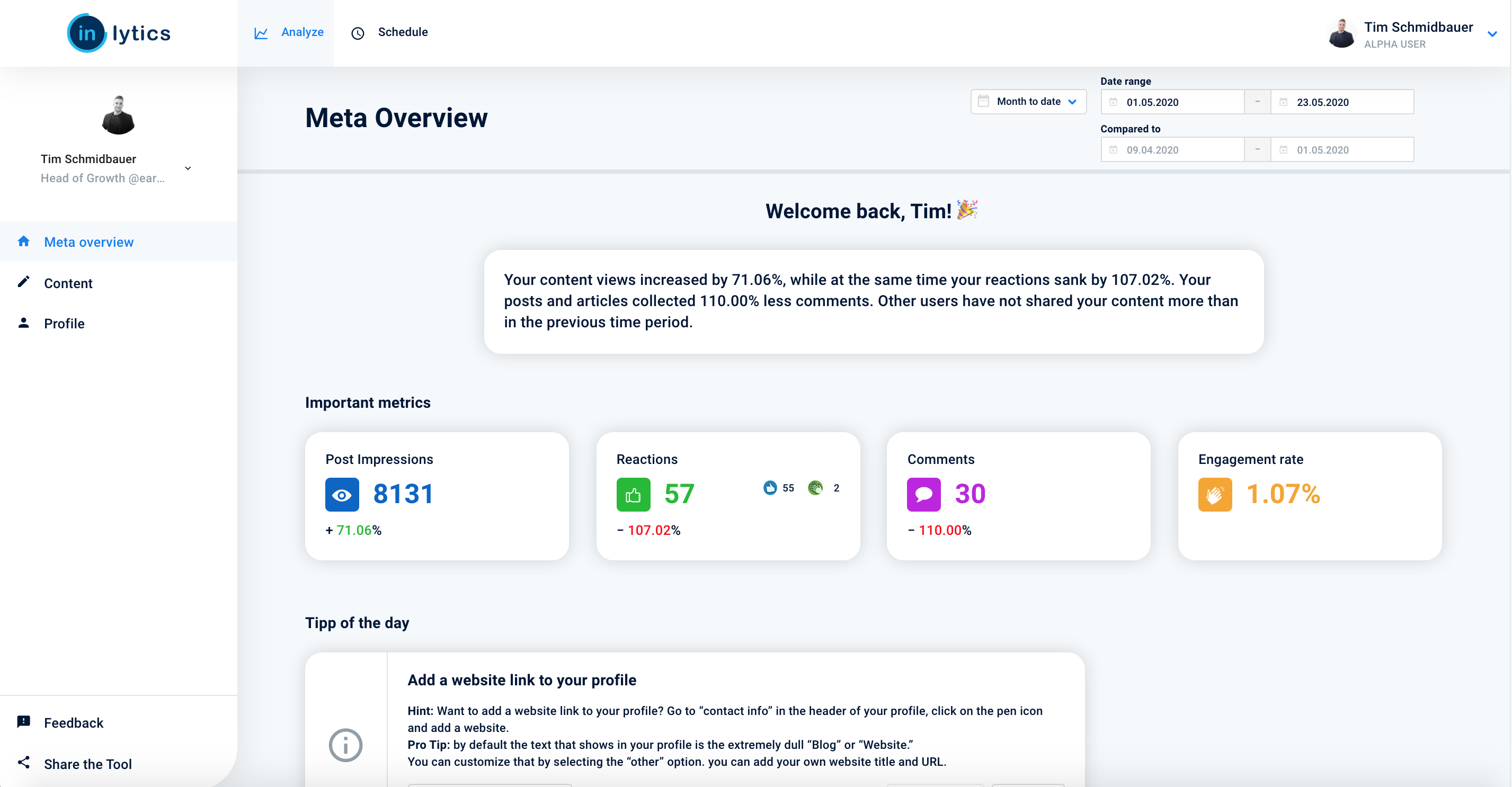 Meta overview dashboard