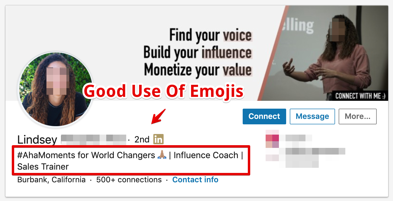 LinkedIn profile with the use of emojis in the headline