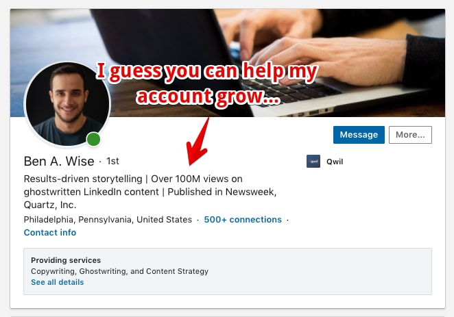 LinkedIn Profile Screenshot of a good Headline Example that adds trust by showing accomplishments