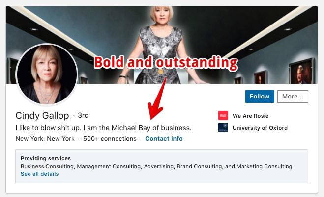 Bold and outstanding LinkedIn headline example