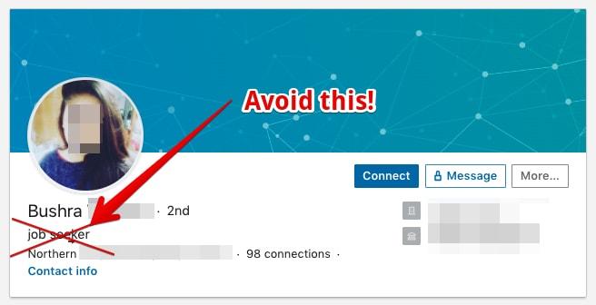 Bad example for a job seeker headline on LinkedIn