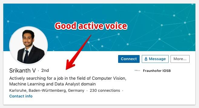 awesome example for a job seeker headline on LinkedIn