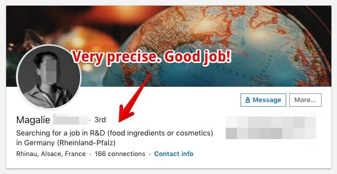 Very precise LinkedIn Headline description