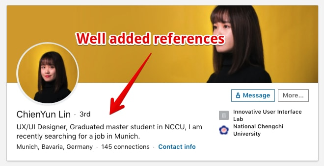 A LinkedIn Headline Example that uses trust elements to standout. Well made!