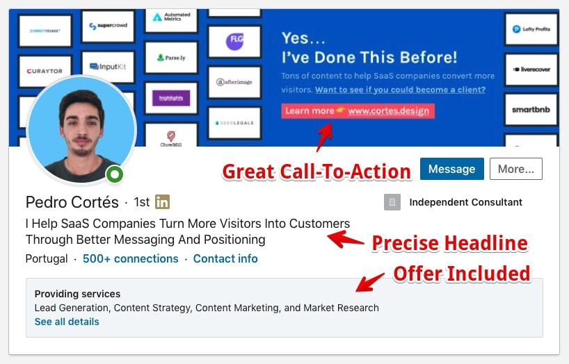 LinkedIn Profile Example: Header area