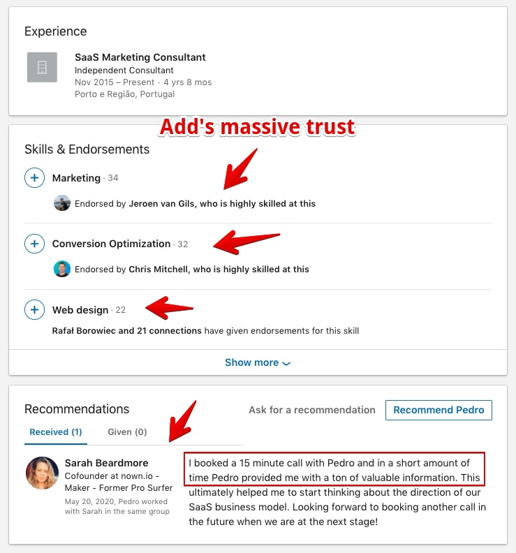 LinkedIn Profile Example showing the experience, skill, and endorsement section