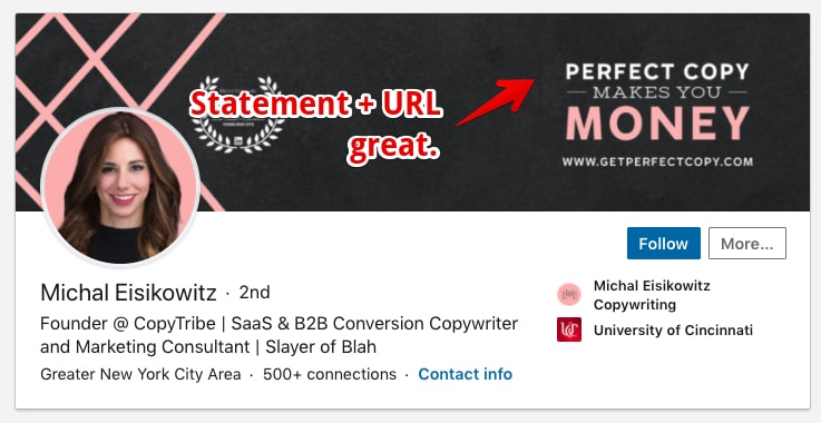 LinkedIn Profile Example of Michal with a good headline and banner call to action