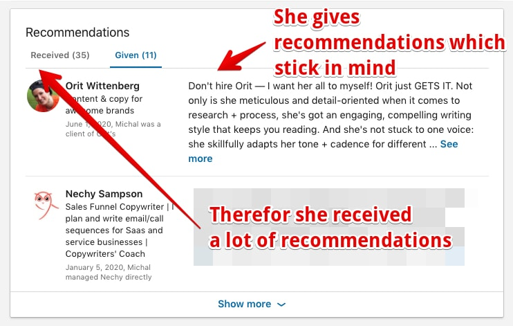 A great LinkedIn Profile Example of given and received recommendations