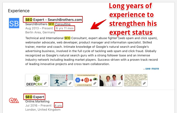 LinkedIn Profile Example of his experience section with many references