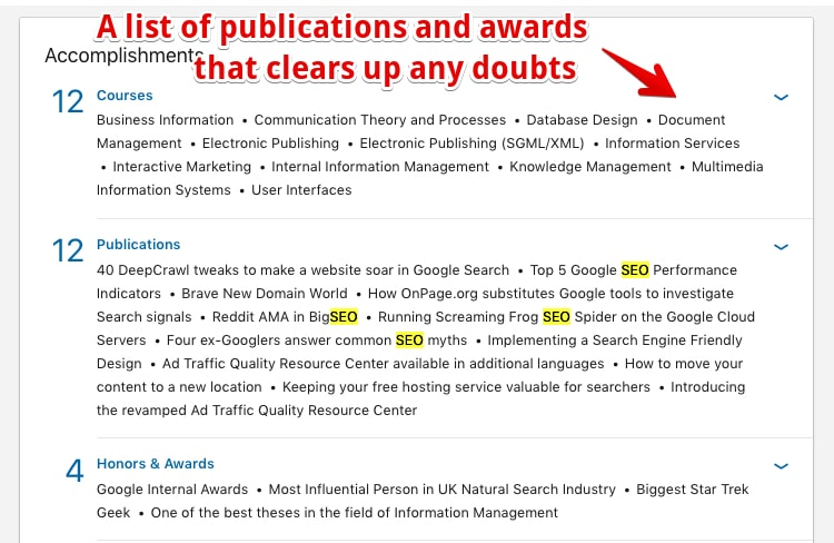 A list of Filis Accomplishments - a good LinkedIn Profile Example