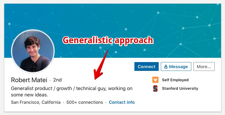 Roberts header shows he is a generalist (Profile Example)
