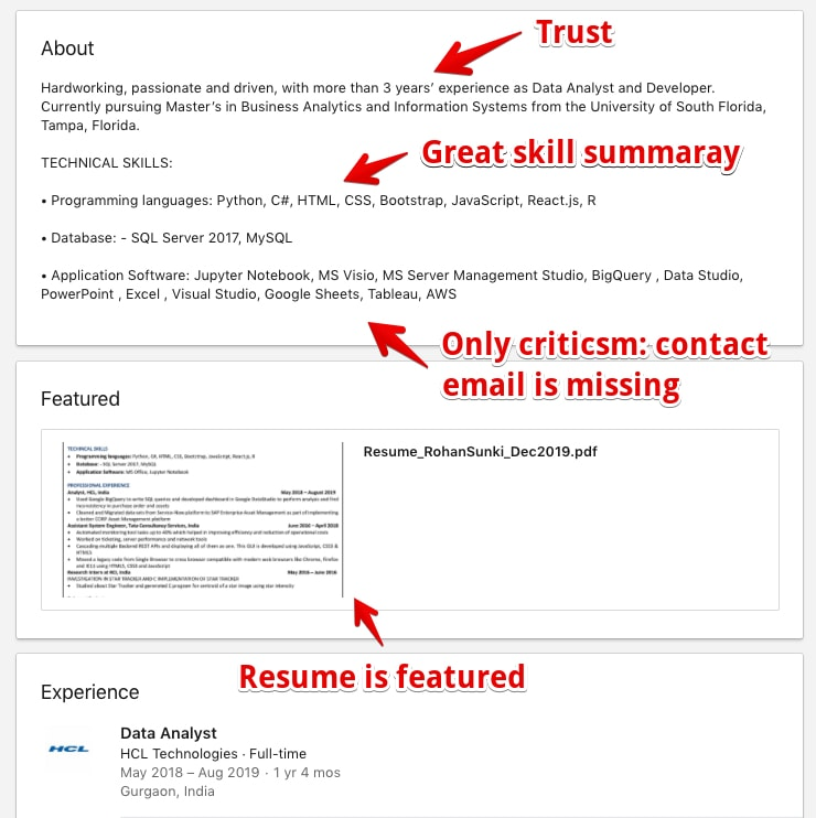 LinkedIn Profile Example with tipps for students