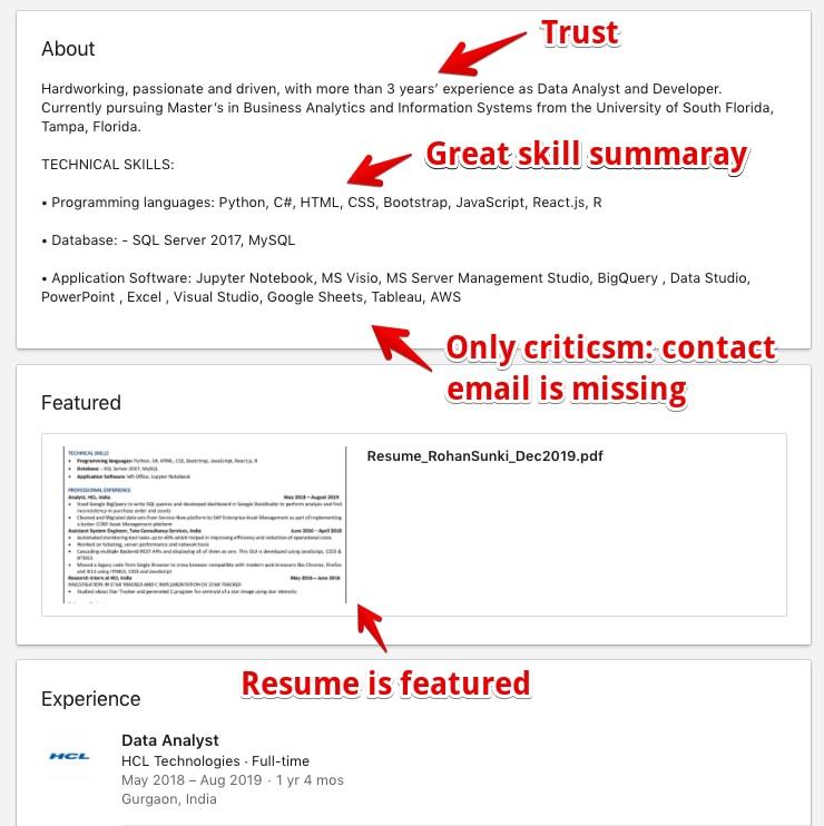 Examples profile picture LinkedIn Profile