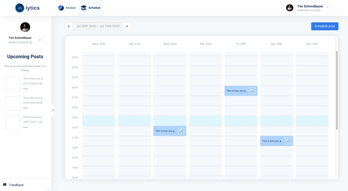 LinkedIn Scheduling Tool post summary with calendar view