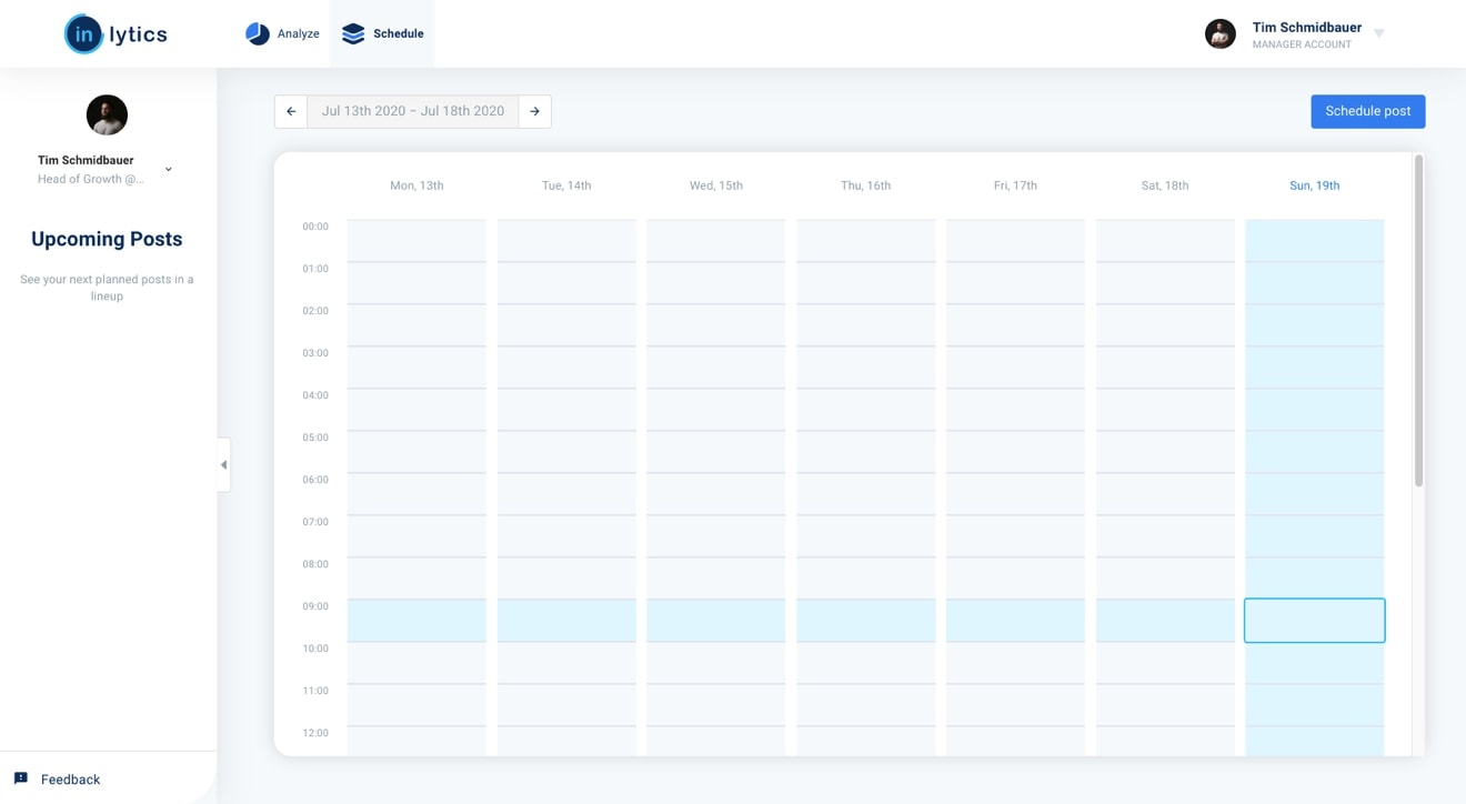 LinkedIn Scheduling Tool calendar page