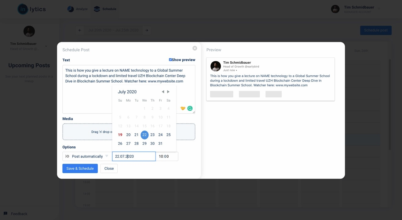LinkedIn Scheduling Tool set the publishing settings