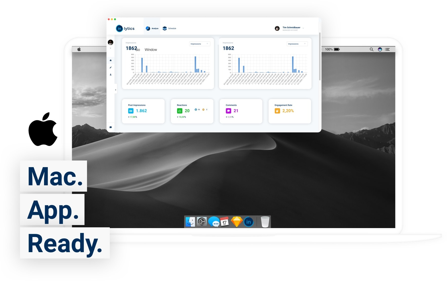 inlytics mac app image for your linkedin analytics tool on your desktop