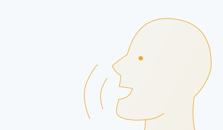 Illustration of a human face speaking about LinkedIn