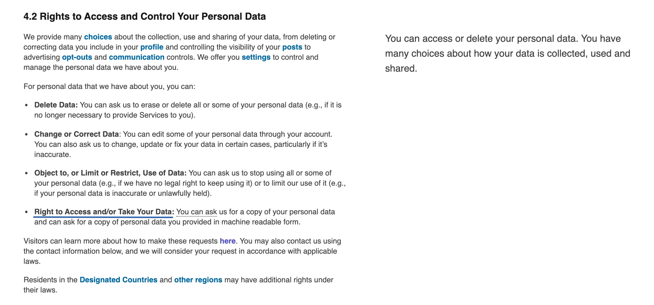 LinkedIn legal text showing the right for data portability