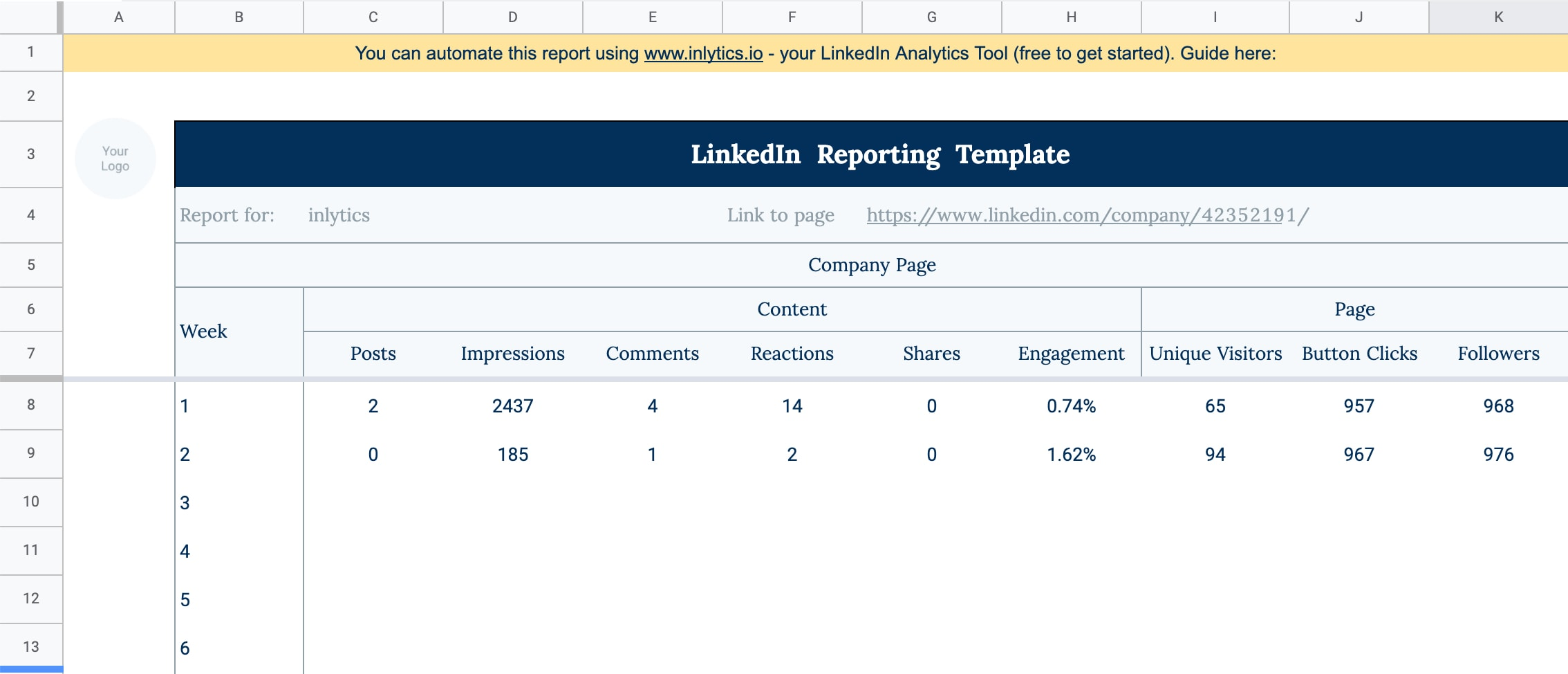 LinkedIn Analytics Reporting Template in Google Sheets and Excel - free