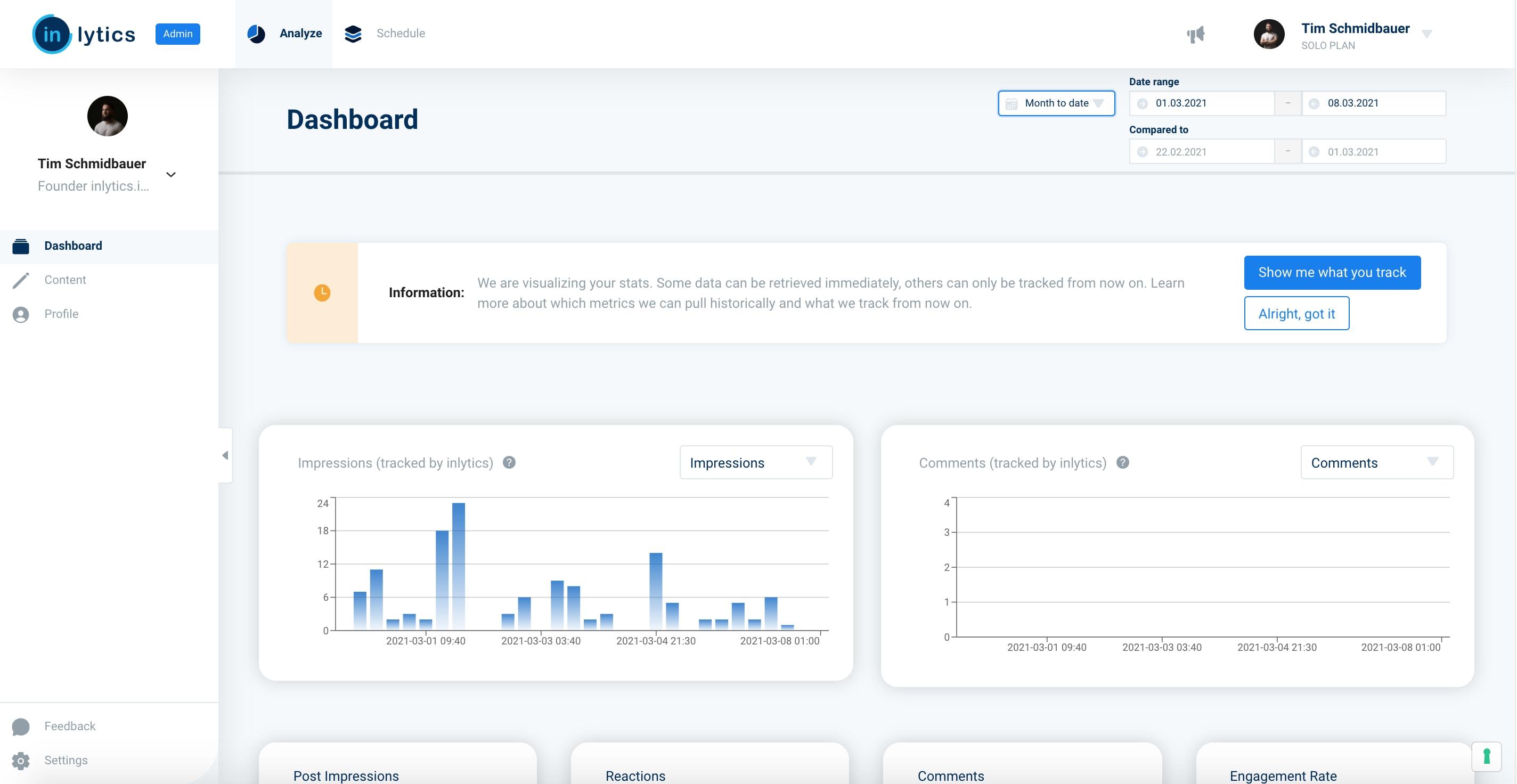 LinkedIn Analytics Dashboard - inlytics.io