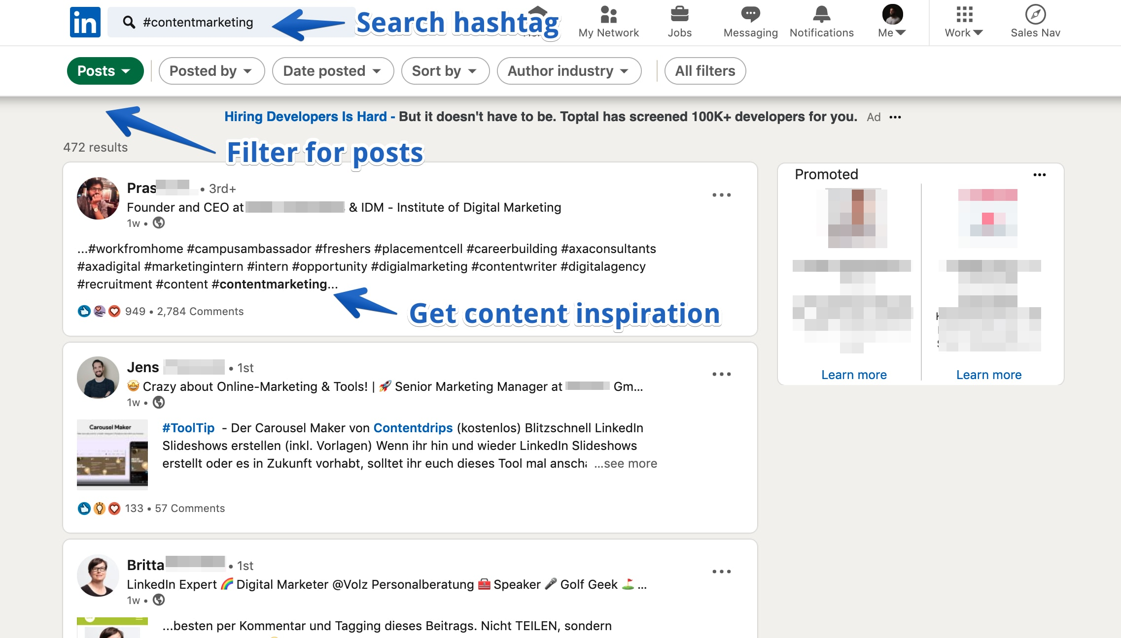 LinkedIn searching for hashtag to find out if content matches intention