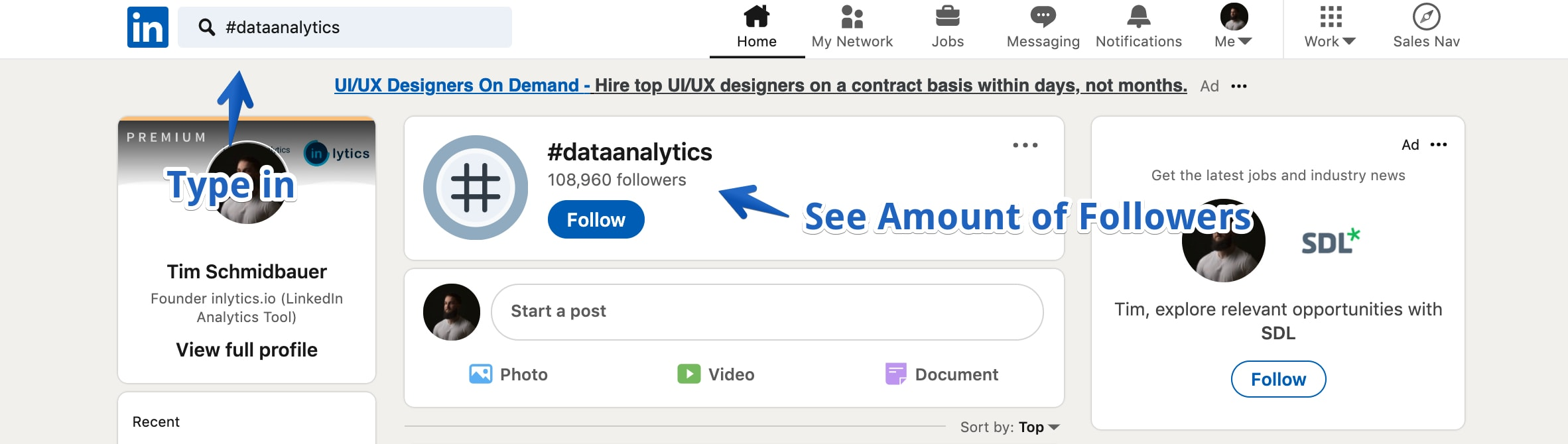 LinkedIn analytics search for hashtag to find out the amount of followers