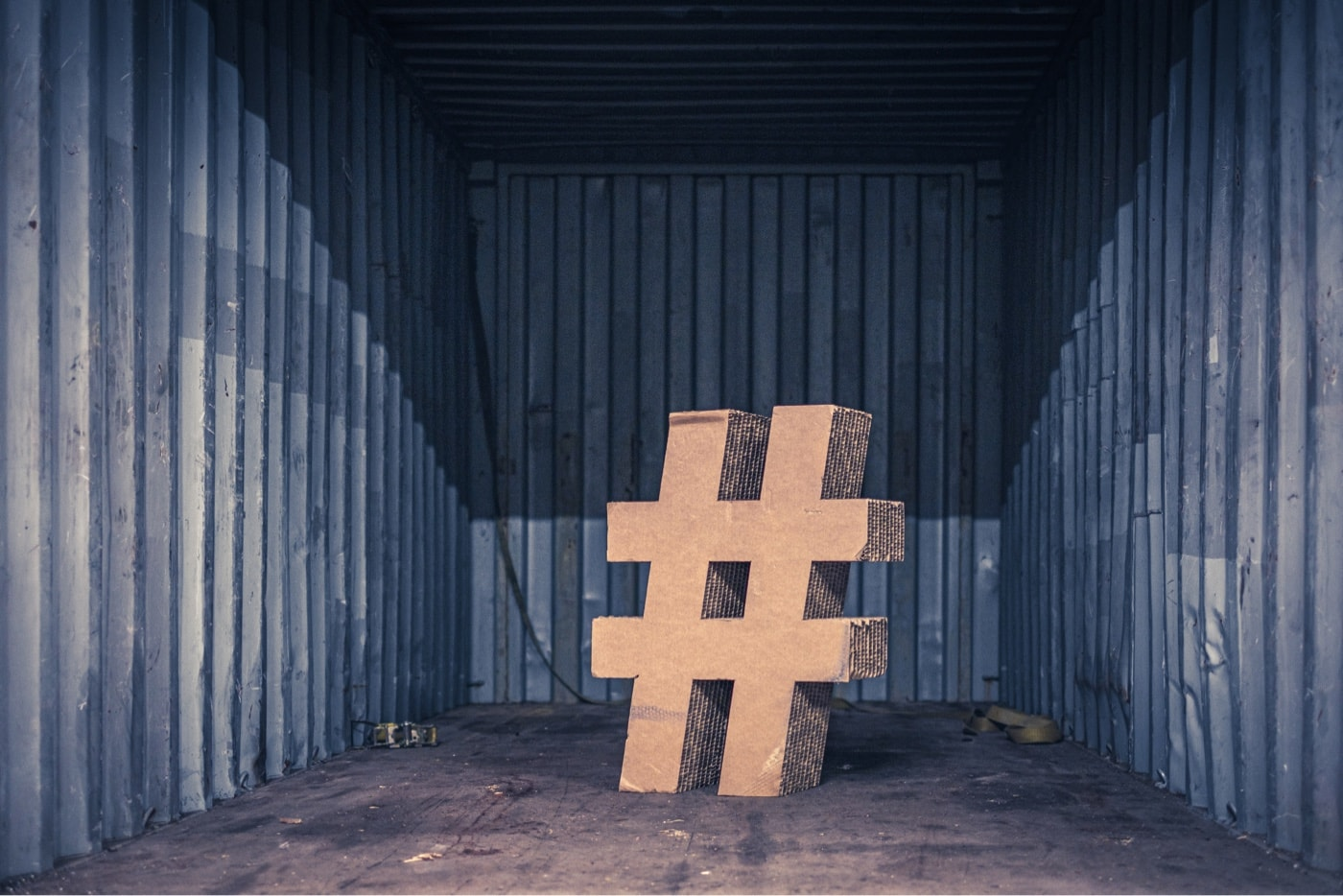 LinkedIn Hashtag symbol standing in container made out of paper