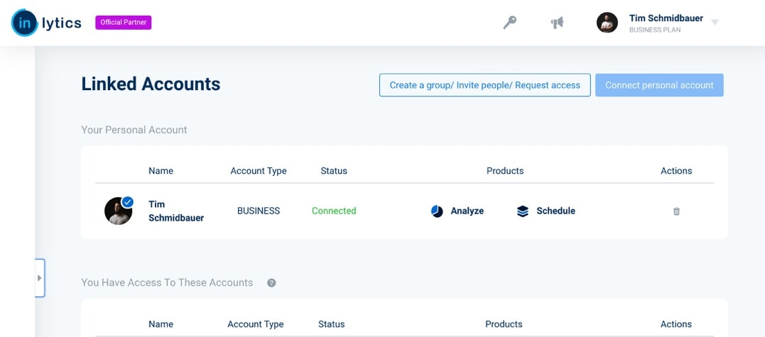 LinkedIn Analytics Tool inlytics with official partner batch