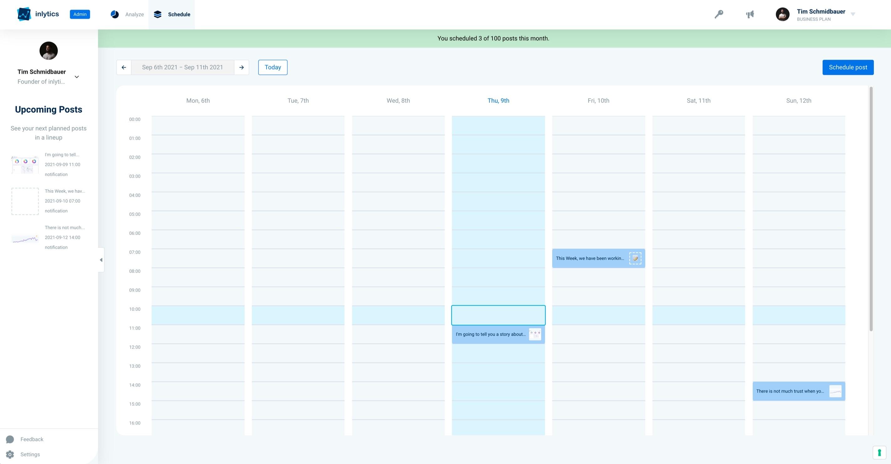 inlytics LinkedIn Analytics Tool - Content scheduling calendar auto publishing