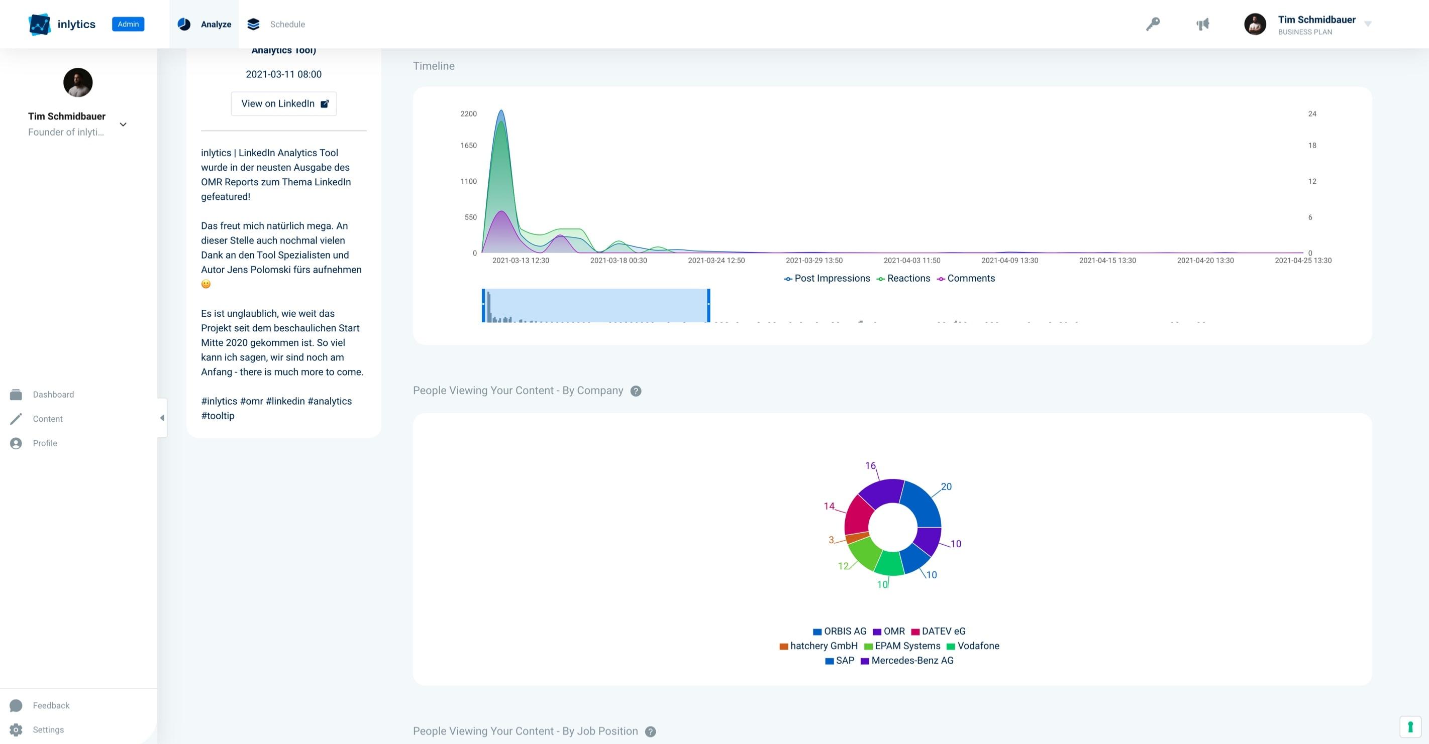 inlytics LinkedIn Analytics Tool - detailed audience insights