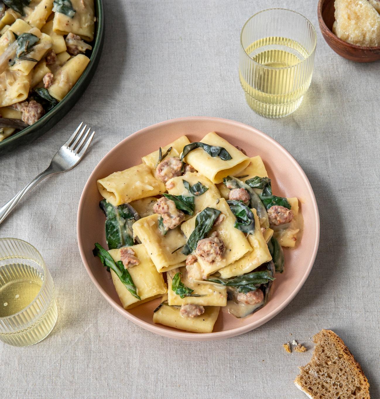 Swiss chard, Italian Sausage and white bean pasta dish