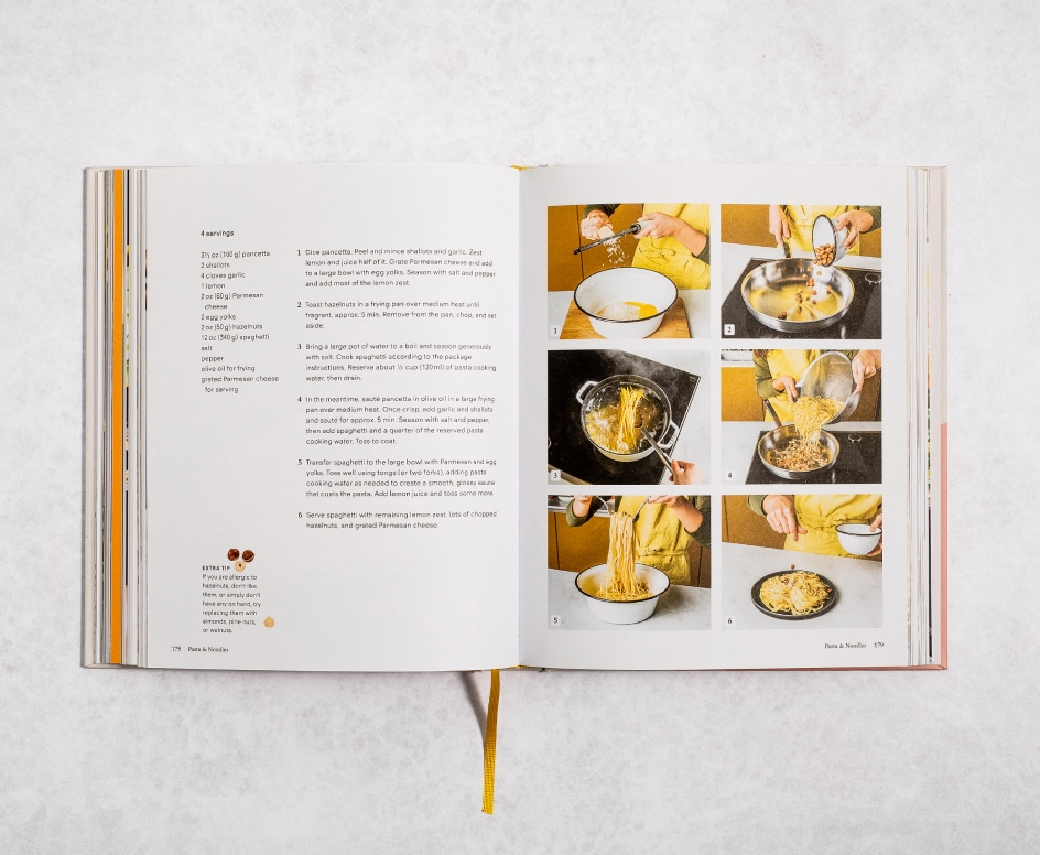 Pages of a cookbook featuring how to make Lemon and hazelnut spaghetti carbonara