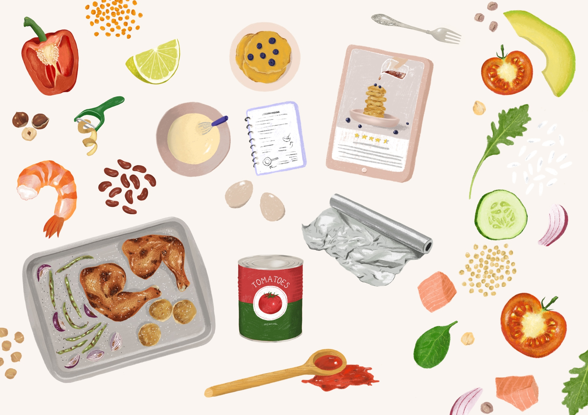 Illustrations from the cookbook by Amina Urkumbayeva