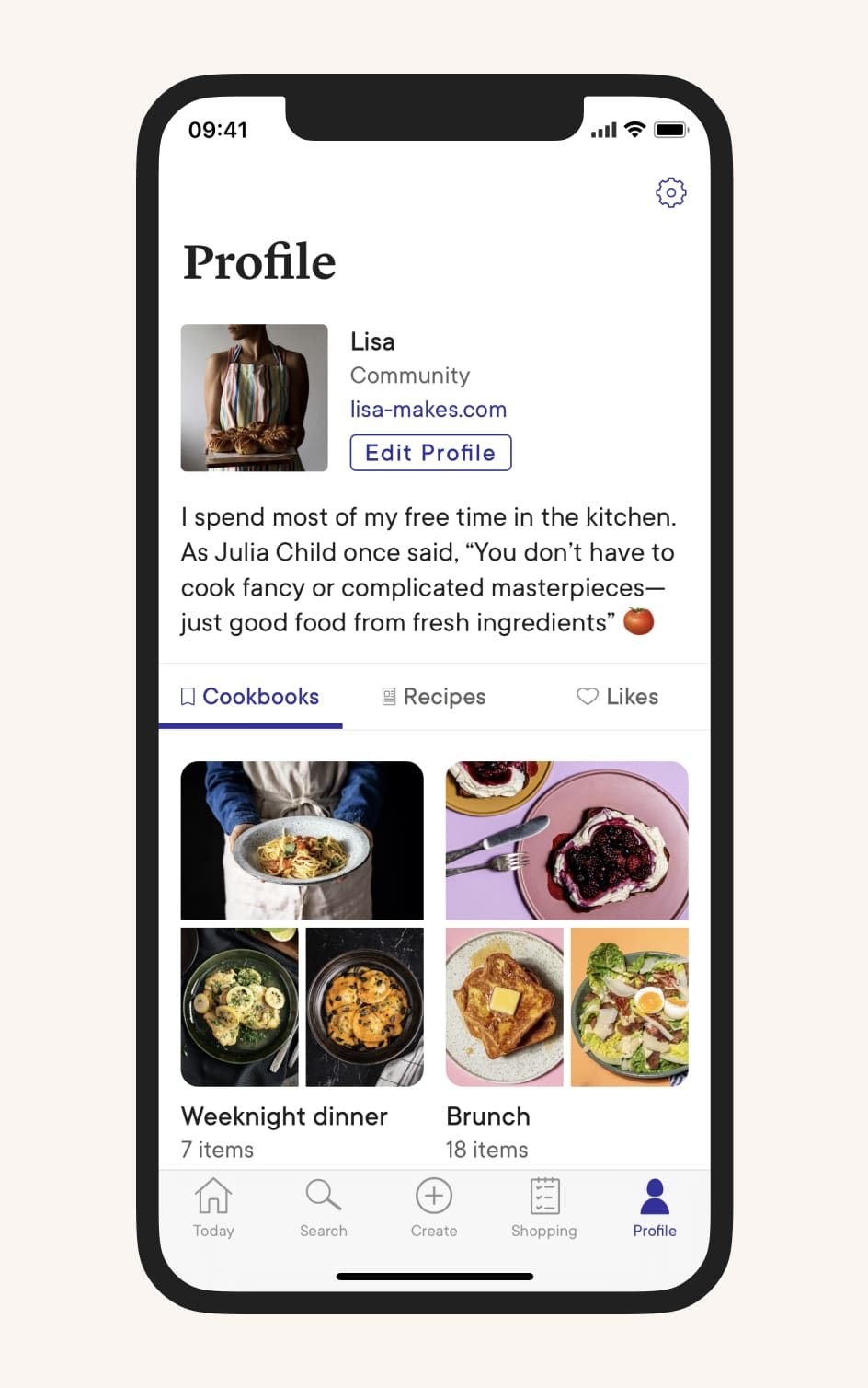 User profile screen in the Kitchen Stories app