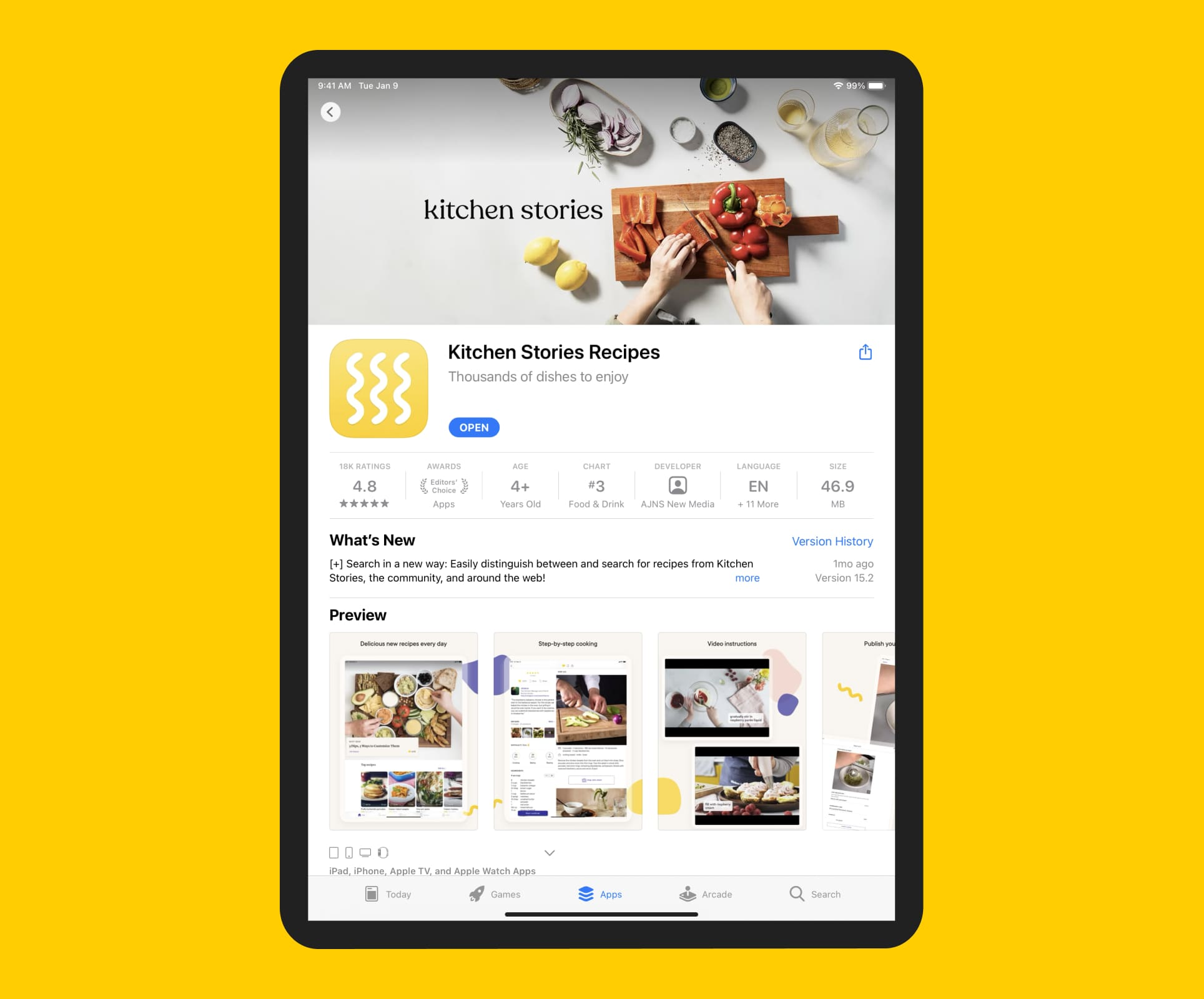 Kitchen Stories product page on the App Store