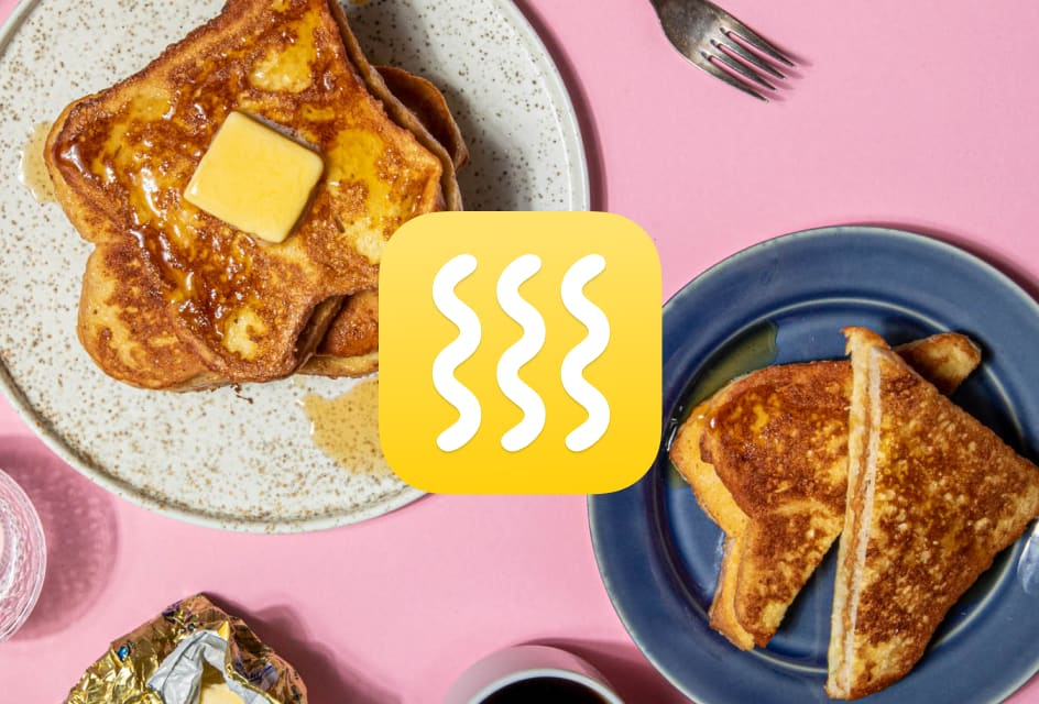 French toast on pink background