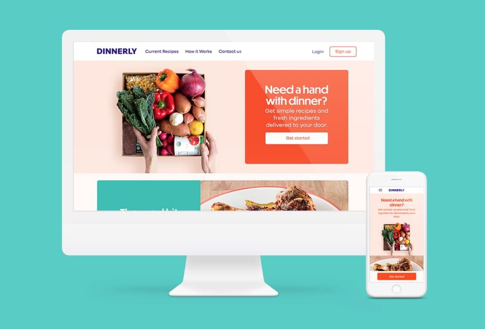 Dinnerly.com website on desktop and mobile