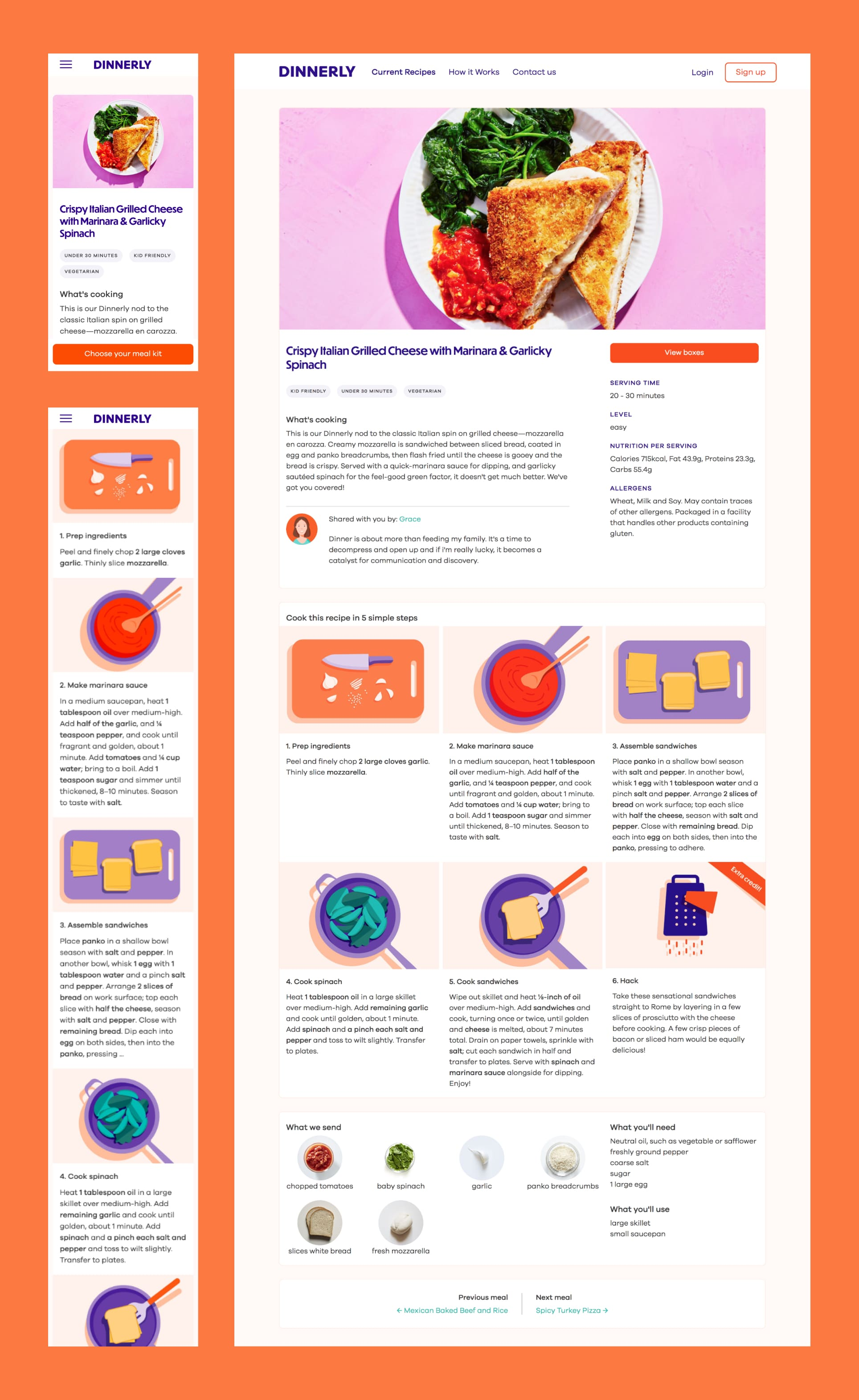 Dinnerly.com's Crispy Italian Grilled Cheese screenshots